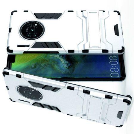 Защитный усиленный гибридный чехол противоударный с подставкой для Huawei Mate 30 Pro Белый
