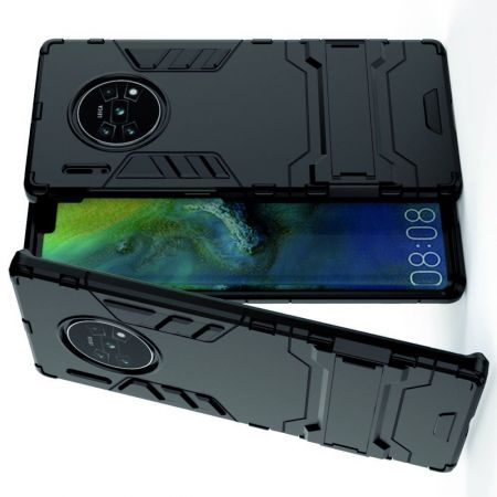 Защитный усиленный гибридный чехол противоударный с подставкой для Huawei Mate 30 Pro Черный