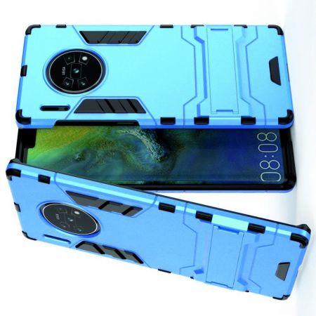 Защитный усиленный гибридный чехол противоударный с подставкой для Huawei Mate 30 Pro Голубой