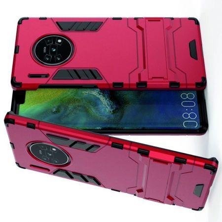 Защитный усиленный гибридный чехол противоударный с подставкой для Huawei Mate 30 Pro Красный