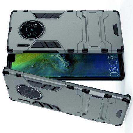 Защитный усиленный гибридный чехол противоударный с подставкой для Huawei Mate 30 Pro Серый