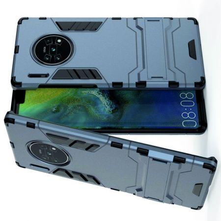 Защитный усиленный гибридный чехол противоударный с подставкой для Huawei Mate 30 Pro Синий