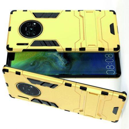 Защитный усиленный гибридный чехол противоударный с подставкой для Huawei Mate 30 Pro Желтый
