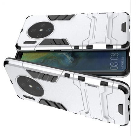 Защитный усиленный гибридный чехол противоударный с подставкой для Huawei Mate 30 Серебряный