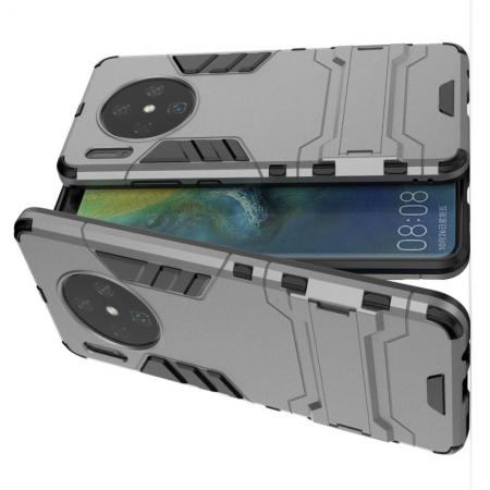 Защитный усиленный гибридный чехол противоударный с подставкой для Huawei Mate 30 Серый