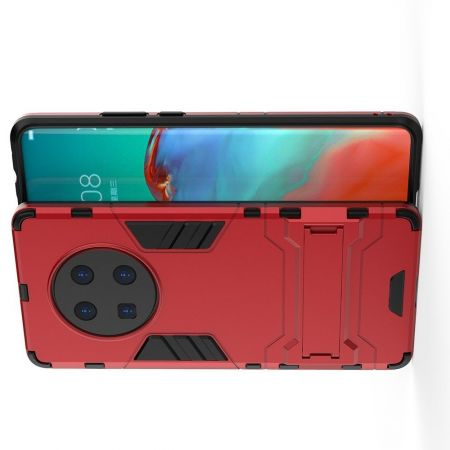 Защитный усиленный гибридный чехол противоударный с подставкой для Huawei Mate 40 Pro Красный