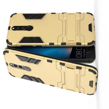 Защитный усиленный гибридный чехол противоударный с подставкой для Huawei Nova 2i / Mate 10 Lite Золотой