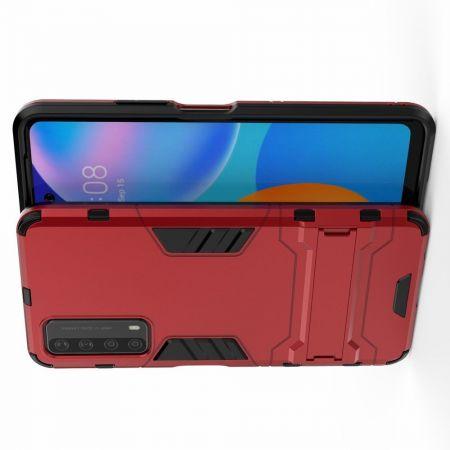 Защитный усиленный гибридный чехол противоударный с подставкой для Huawei P Smart 2021 Красный