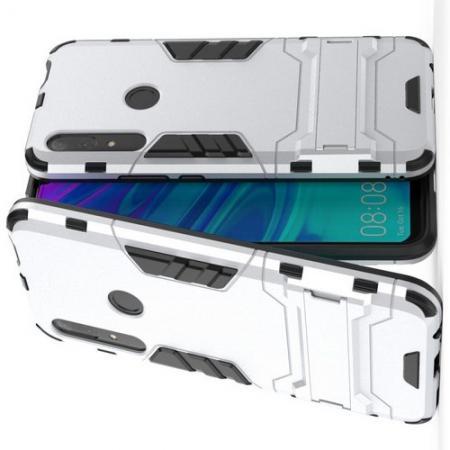 Защитный усиленный гибридный чехол противоударный с подставкой для Huawei P Smart Z Белый