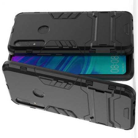 Защитный усиленный гибридный чехол противоударный с подставкой для Huawei P Smart Z Черный