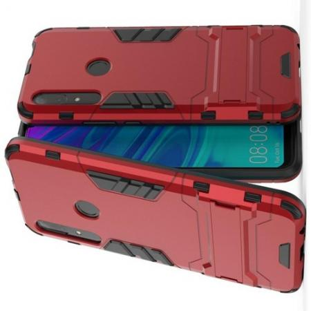 Защитный усиленный гибридный чехол противоударный с подставкой для Huawei P Smart Z Красный