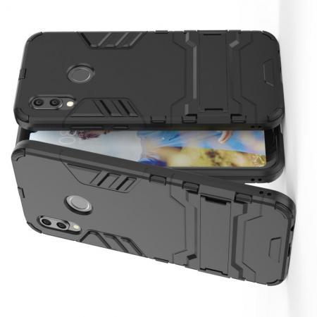 Защитный усиленный гибридный чехол противоударный с подставкой для Huawei P20 lite Черный