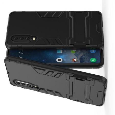 Защитный усиленный гибридный чехол противоударный с подставкой для Huawei P30 Черный