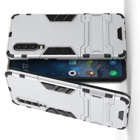 Защитный усиленный гибридный чехол противоударный с подставкой для Huawei P30 Серебряный