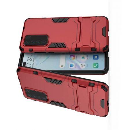 Защитный усиленный гибридный чехол противоударный с подставкой для Huawei P40 Красный