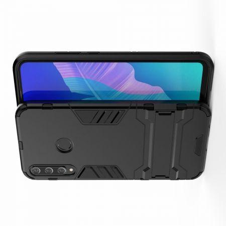 Защитный усиленный гибридный чехол противоударный с подставкой для Huawei P40 lite E Черный