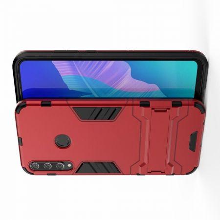 Защитный усиленный гибридный чехол противоударный с подставкой для Huawei P40 lite E Красный