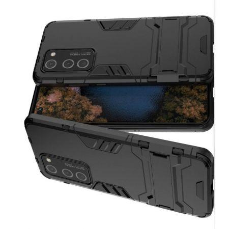 Защитный усиленный гибридный чехол противоударный с подставкой для Huawei P40 Pro Черный