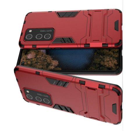 Защитный усиленный гибридный чехол противоударный с подставкой для Huawei P40 Pro Красный