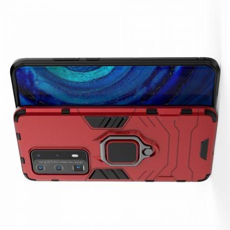 Защитный усиленный гибридный чехол противоударный с подставкой для Huawei P40 Pro+ / Pro Plus Красный