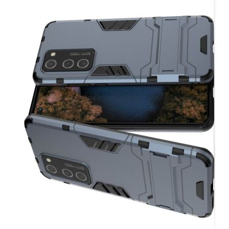 Защитный усиленный гибридный чехол противоударный с подставкой для Huawei P40 Pro Синий