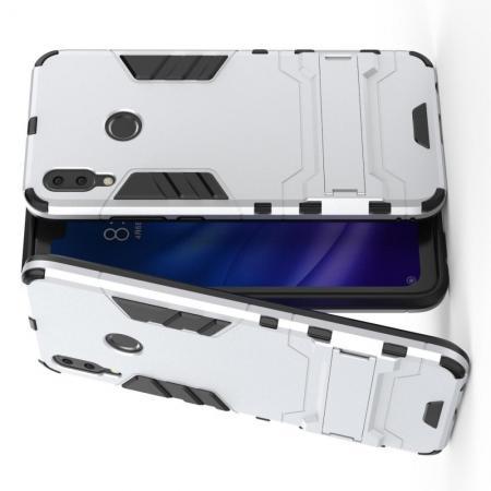 Защитный усиленный гибридный чехол противоударный с подставкой для Huawei Y9 2019 Серебряный