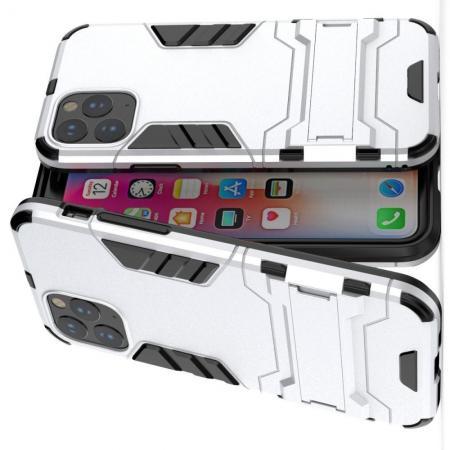 Защитный усиленный гибридный чехол противоударный с подставкой для iPhone 11 Серебряный