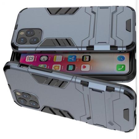 Защитный усиленный гибридный чехол противоударный с подставкой для iPhone 11 Синий