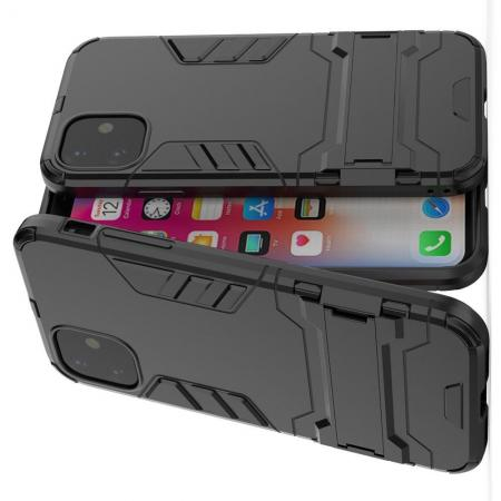 Защитный усиленный гибридный чехол противоударный с подставкой для iPhone 11 Черный