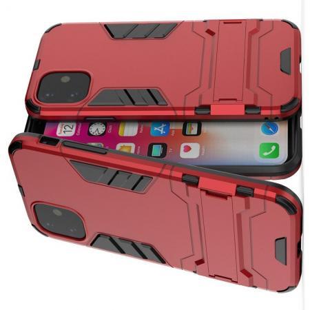 Защитный усиленный гибридный чехол противоударный с подставкой для iPhone 11 Красный