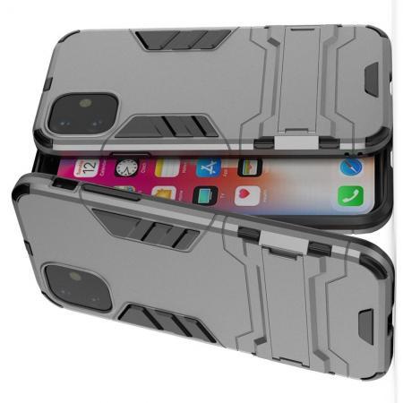 Защитный усиленный гибридный чехол противоударный с подставкой для iPhone 11 Серый