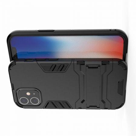 Защитный усиленный гибридный чехол противоударный с подставкой для iPhone 12 mini Черный