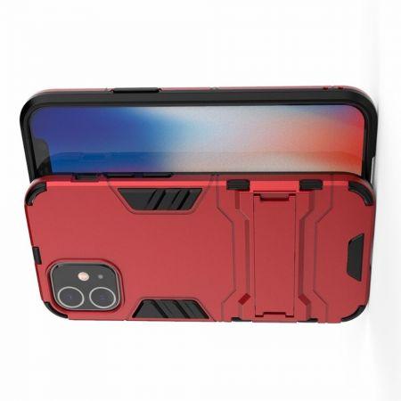 Защитный усиленный гибридный чехол противоударный с подставкой для iPhone 12 mini Красный