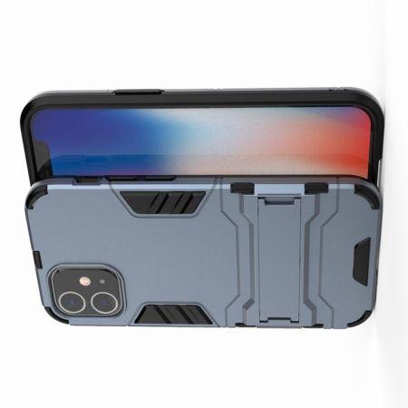 Защитный усиленный гибридный чехол противоударный с подставкой для iPhone 12 mini Синий