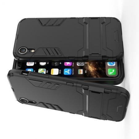 Защитный усиленный гибридный чехол противоударный с подставкой для iPhone XR Черный