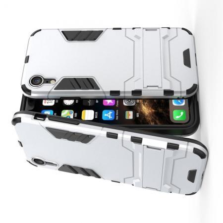 Защитный усиленный гибридный чехол противоударный с подставкой для iPhone XR Серебряный