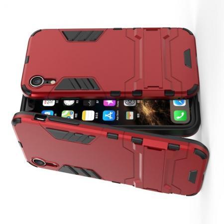 Защитный усиленный гибридный чехол противоударный с подставкой для iPhone XR Красный