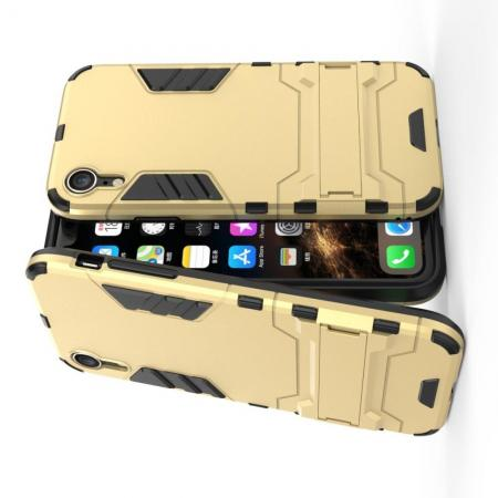 Защитный усиленный гибридный чехол противоударный с подставкой для iPhone XR Золотой