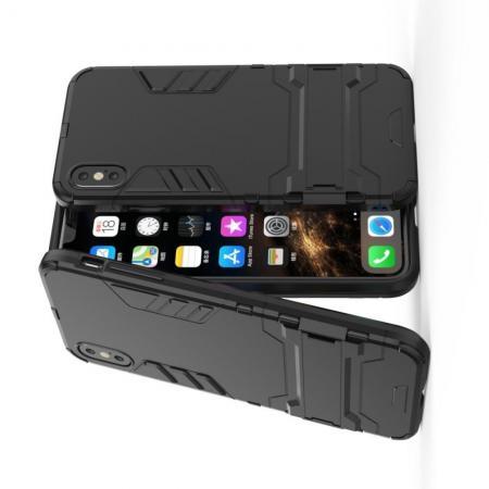 Защитный усиленный гибридный чехол противоударный с подставкой для iPhone XS Max Черный
