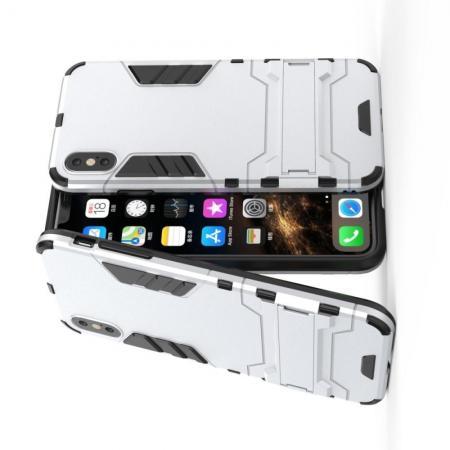 Защитный усиленный гибридный чехол противоударный с подставкой для iPhone XS Max Белый