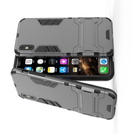 Защитный усиленный гибридный чехол противоударный с подставкой для iPhone XS Max Серый
