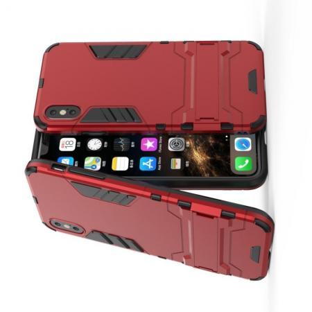 Защитный усиленный гибридный чехол противоударный с подставкой для iPhone XS Max Красный