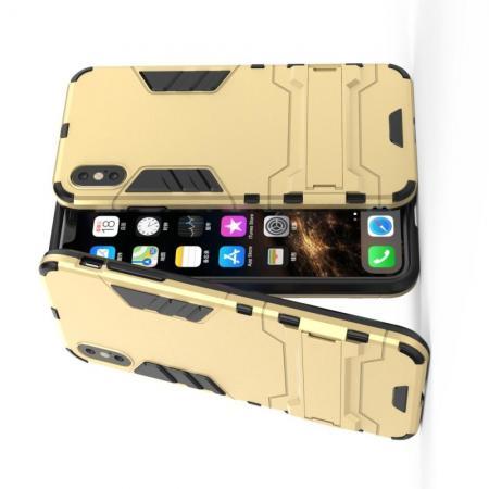 Защитный усиленный гибридный чехол противоударный с подставкой для iPhone XS Max Золотой