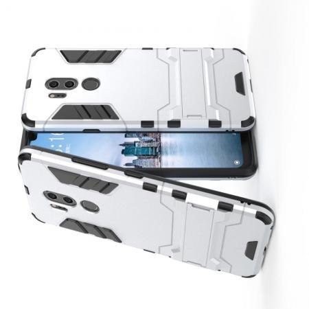 Защитный усиленный гибридный чехол противоударный с подставкой для LG G7 ThinQ Белый