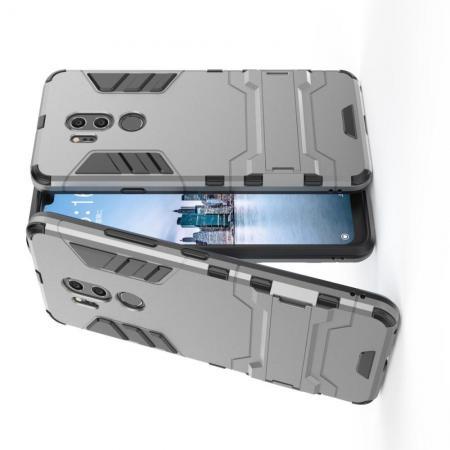 Защитный усиленный гибридный чехол противоударный с подставкой для LG G7 ThinQ Серый