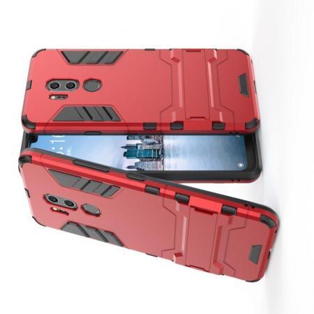Защитный усиленный гибридный чехол противоударный с подставкой для LG G7 ThinQ Красный