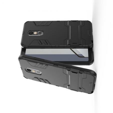 Защитный усиленный гибридный чехол противоударный с подставкой для LG Q Stylus+ Черный