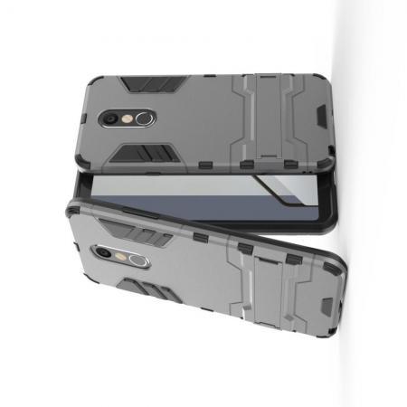 Защитный усиленный гибридный чехол противоударный с подставкой для LG Q Stylus+ Серый