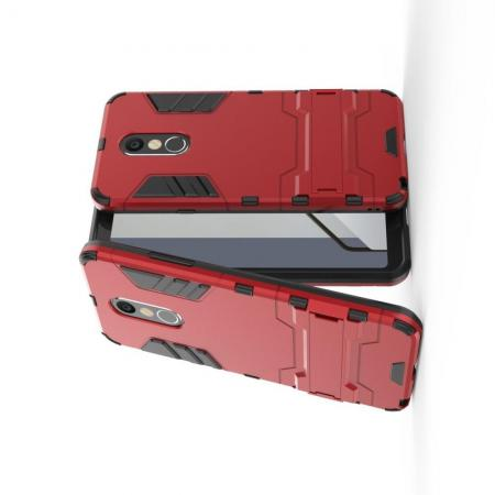 Защитный усиленный гибридный чехол противоударный с подставкой для LG Q Stylus+ Красный