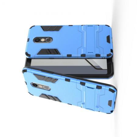 Защитный усиленный гибридный чехол противоударный с подставкой для LG Q Stylus+ Голубой